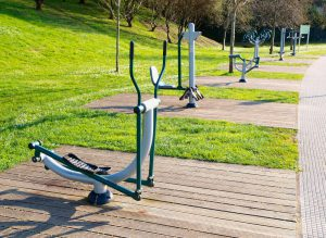 Outdoor gym equipment in park